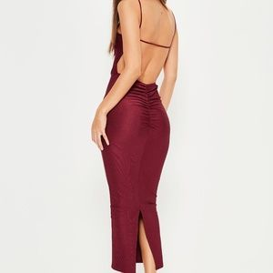 Missguided Burgundy Ribbed Backless Dress